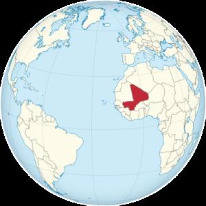 Mali on the globe