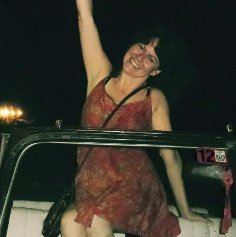 Linette Tobin in convertible, Havana, 2013